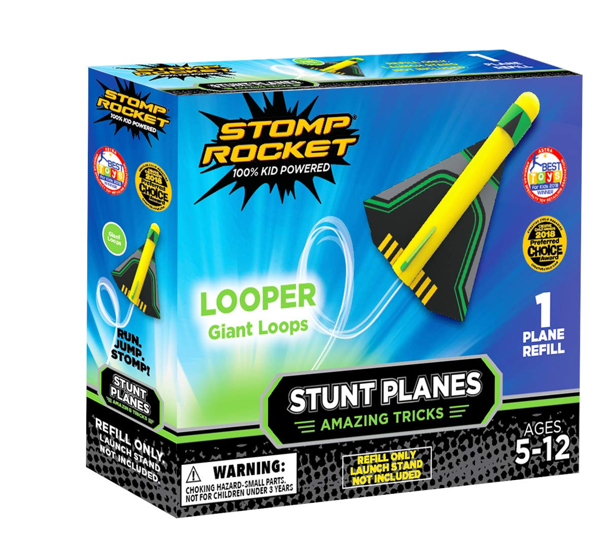 Stomp Rocket Stunt Planes Refill Pack, 1 Looper Plane, for Boys and Girls - Outdoor Rocket Gift for Ages 5 (6, 7, 8) and up