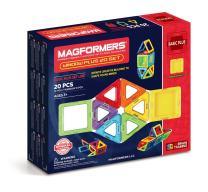 Magformers Window Plus 20 Pieces Rainbow Colors, Educational Magnetic Geometric Shapes Tiles Building STEM Toy Set Ages 3+