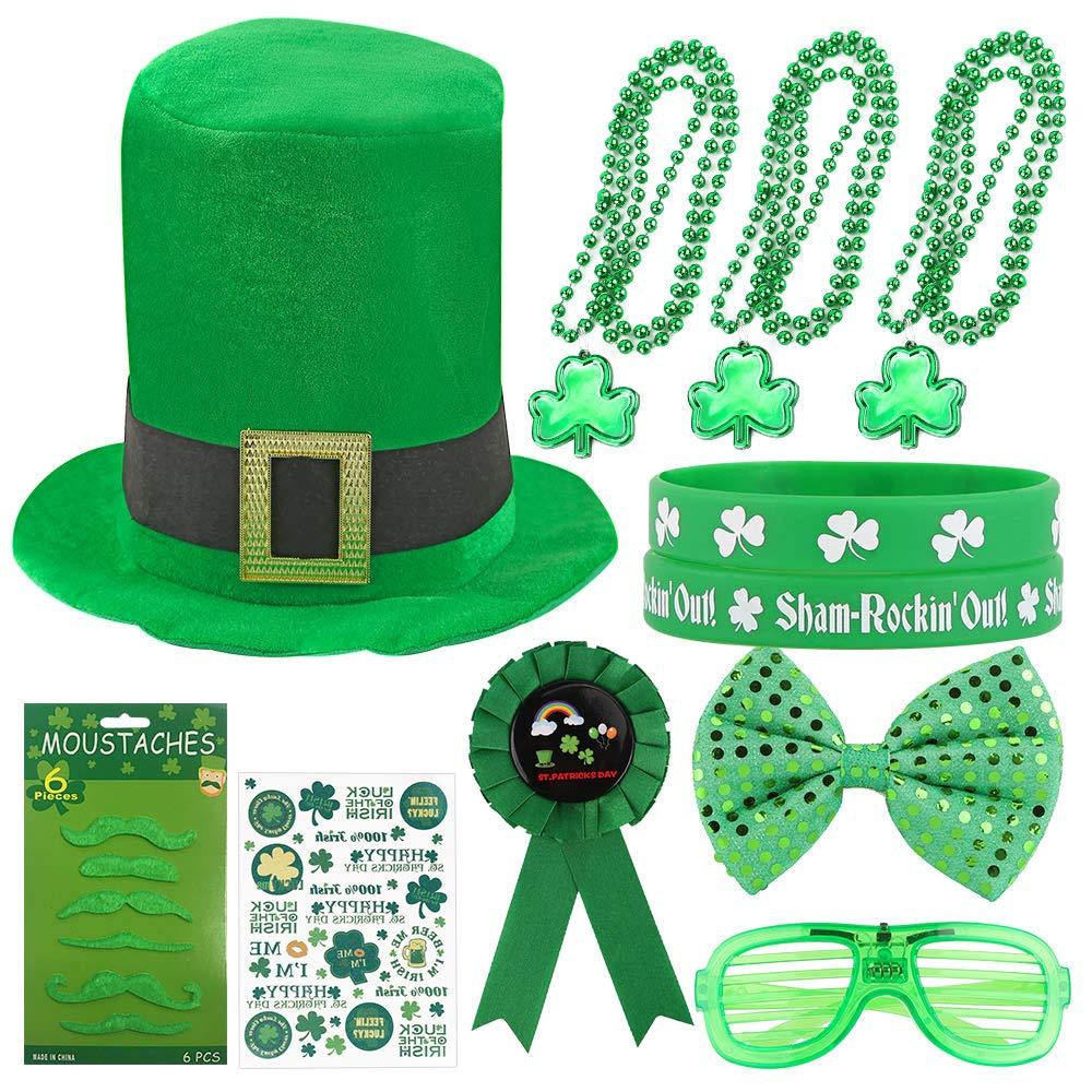 Patricks Day Shamrock Green Velvet Top Hat Green St St Patricks Day Hats and Beard for Men Women St Patricks Day Party Accessories Set Party favor Surprise