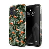 BURGA Phone Case Compatible with iPhone 11 - Flamingo Green Palm Trees Leaf Tropical Leaves Exotic Bird Summer Heavy Duty Shockproof Dual Layer Hard Shell + Silicone Protective Cover