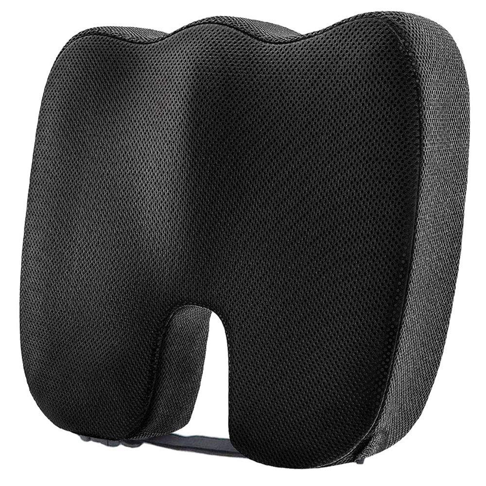 Dreamer Car Comfortable and Supportive Memory Foam Seat Cushion for Office Chair - 3D Mesh Coccyx Cushion Design for Tailbone Pain Relief - Sciatica Pillow with Adjustable Strap for Sitting-Black
