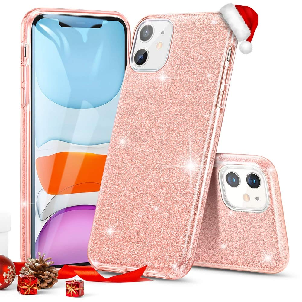 """ESR Glitter Case Compatible for iPhone 11 Case, Glitter Sparkle Bling Case [Three Layer] for Women [Supports Wireless Charging] for iPhone 11 6.1"""" (2019), Coral"""
