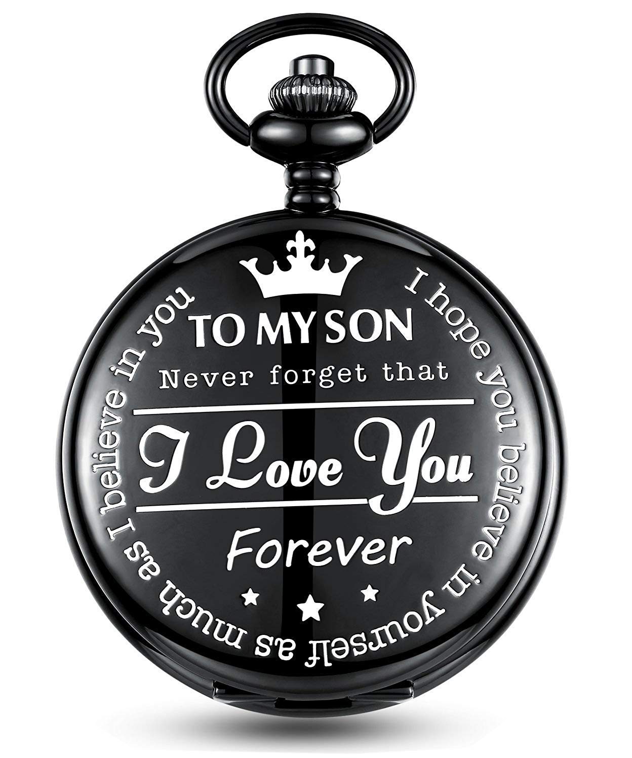 Mens Pocket Watch with Chain, Classic Vintage Quartz Roman Numerals Personalized Pattern Pocket Watches Retro Gift Black