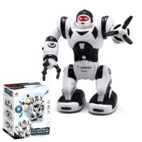 YARMOSHI Walking Robot Toy - Battery Operated, Flexible Moving Arms, Plays Music with Flashing Eyes. Fun Gift for Boys and Girls, 6x4x8.4 Inches, Age 2+ (Mini Calvin Black)
