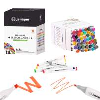 JEMIQUE 48 Colors Alcohol Markers, Dual Tip Permanent Art Makers, Sketch Marker Pens Set For Kids Adults Artist Drawing Painting Artist Coloring Sketching Illustration and Card Marking