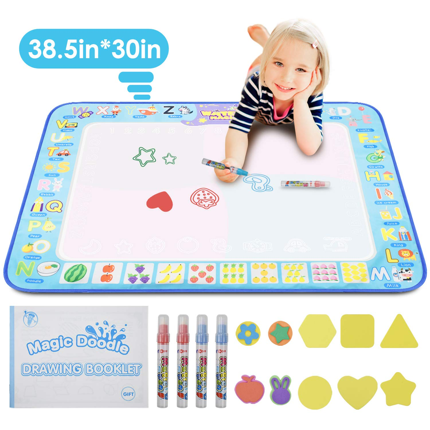 """KATUMO Water Doodle Mat, Extra Large Water Drawing Mat Kids Magic Doodle Board Painting Writing Pad Educational Toy Gift for Kids/Toddlers Learning Painting Coloring, Age 3+, 38.5"""" 30"""" in 4 Colors"""