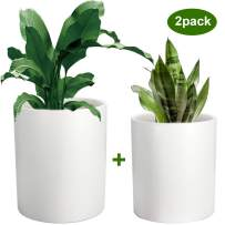 Plant Pots, ZOUTOG 6 + 7 inch Ceramic Pots for Plants, Flower Planter Pot with Drainage Hole, Set of 2 - Plants not Included, White