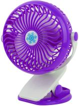GPCT Clip-On Desk Personal Quiet Table Fan. Energy Efficient/Micro USB Powered Cooling Office Desktop Fan- Traveling/Camping/Fishing/Hiking/Backpacking/BBQ/Baby Stroller/Picnic/Biking/Boating- Purple
