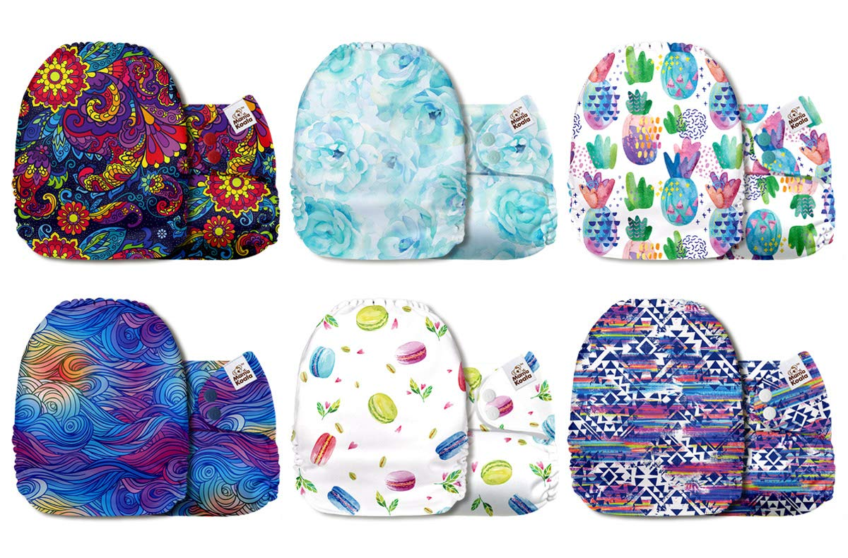 Mama Koala One Size Baby Washable Reusable Pocket Cloth Diapers, 6 Pack with 6 One Size Microfiber Inserts (All in Bloom)
