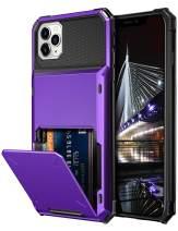 Vofolen Case for iPhone 11 Pro Max Case Wallet Enlarged Card Slot Holder Flip Door Hidden Pocket Rugged Hybrid Bumper Armor Protective Hard Shell Back Cover for iPhone 11 Pro Max 6.5 inch (Purple)