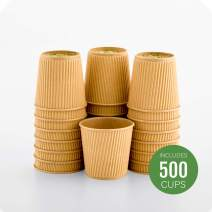 500-CT Disposable Kraft 4-OZ Hot Beverage Cups with Ripple Wall Design: No Need for Sleeves - Perfect for Cafes - Eco-Friendly Recyclable Paper - Insulated - Wholesale Takeout Coffee Cup