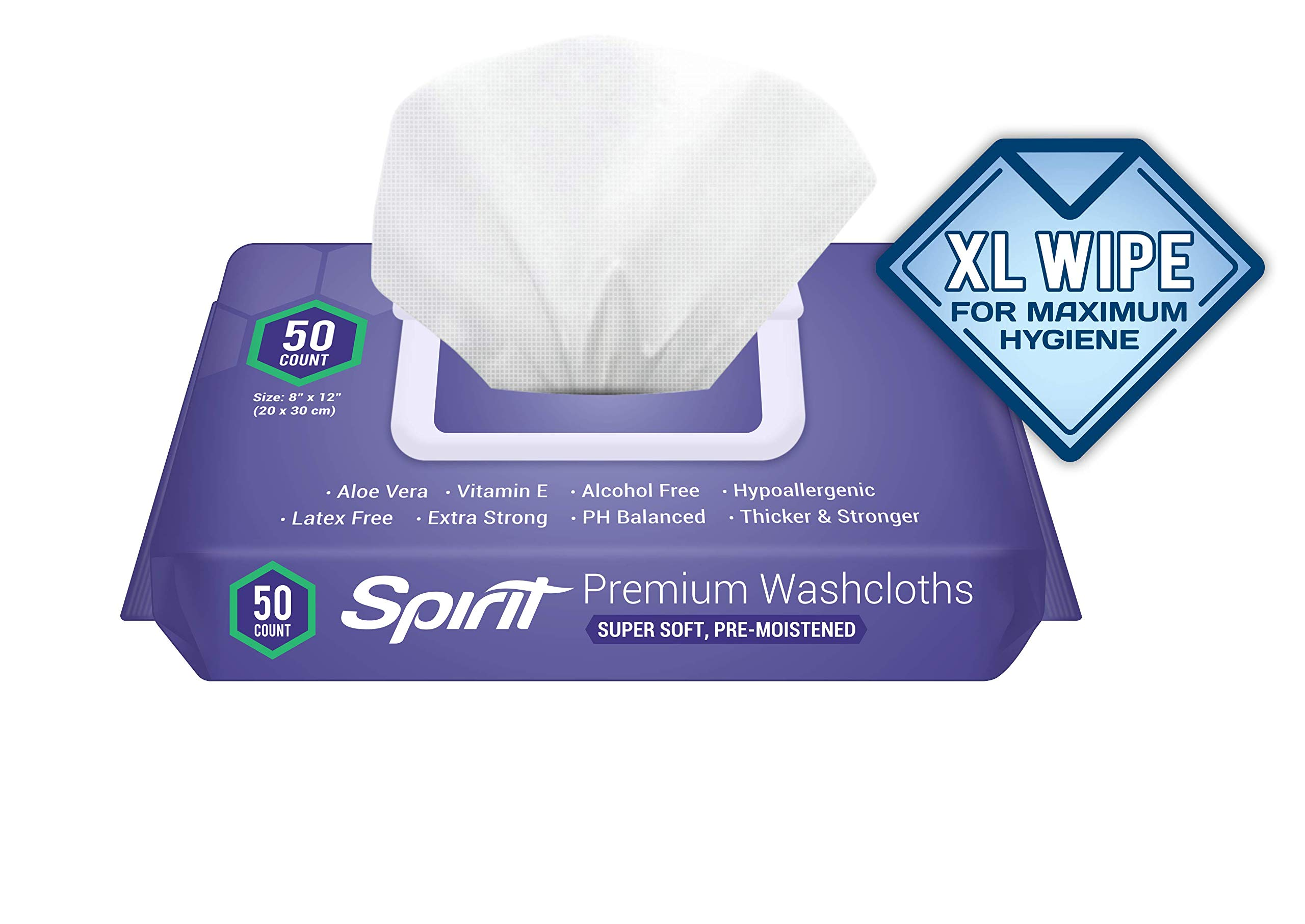"""Healthy Spirit Disposable Washcloths 50 Count - Adult Wipes Extra Large, Adult Wipes for Incontinence and Cleansing, 8""""x12"""", 50 Count, White"""