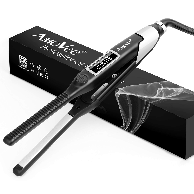"AmoVee Pencil Flat Iron Professional Titanium Ceramic Hair Straightener for Short Hair, Pixie Cut, Beard Hair 1/2"" Straightener with Digital Temp Control, Dual Voltage"