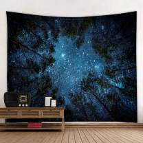 Llamazing Forest Tapestry Home Decor Landscape Tapestry Living Room Bedroom Decoration Tapestry Magic Tapestry Curtain (Looking Up at The Stars, 78''L×60''W)
