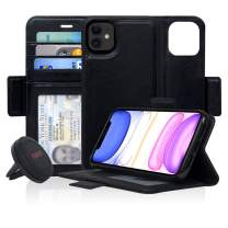 Navor Universal Car Mount & Detachable Magnetic Wallet Case with RFID Protection Compatible for iPhone 11 [6.1 inch] [Vajio Series] - Black [IP11VJKTBK]