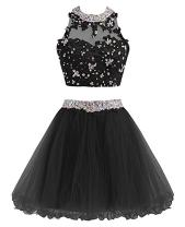 MEILISAY Meilishuo Beaded Sparkly Short Homecoming Dresses 2 Piece Cocktail Party Dresses LF121