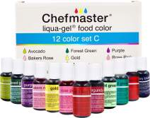 Chefmaster: Liqua-Gel Food Coloring - 12 Color Set C - Fade Resistant Food Coloring - 12 Pack - Vibrant, Eye-Catching Colors, Easy-To-Blend Formula, Fade-Resistant