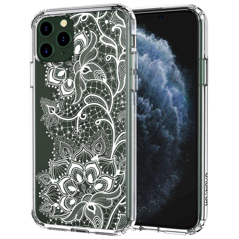 MOSNOVO iPhone 11 Pro Case, Lacy Flower Pattern Printed Clear Design Transparent Plastic Hard Back Case with TPU Bumper Protective Case Cover for iPhone 11 Pro