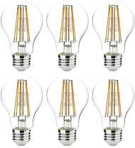 AmazonBasics 75 Watt Equivalent, Clear, Soft White, Non-Dimmable, 15,000 Hour Lifetime, A19 LED Light Bulb | 6-Pack