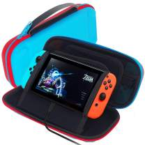 GOMDA Switch Carry Case Compatible - With 20 Games Cartridges and Support Bracket- Protective Hard Shell Travel Carrying Case Pouch for Nintendo Switch Console & Accessories,Blue Red
