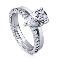 BERRICLE Rhodium Plated Sterling Silver Pear Cut Cubic Zirconia CZ Solitaire Engagement Wedding Ring Set 2.36 CTW