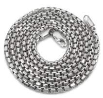 925 Sterling Silver Italian 1.5mm - 3.5mm Round Box Chain, FREE Microfiber Cloth, Solid Rolo Link Rhodium Necklace, Giorgio Bergamo