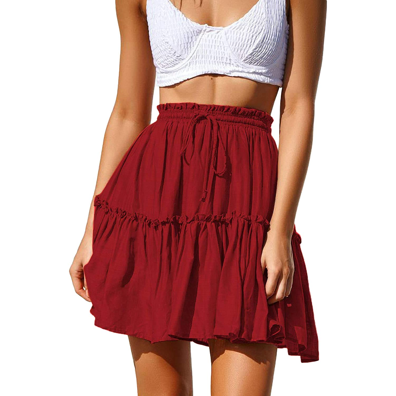 Nantersan Women's High Waist Flared Ruffle Skirt Cute Floral Swing Beach Mini Short Skirts Polka Dot Pleated Skirt
