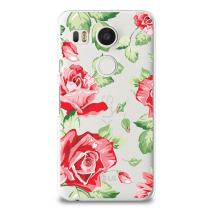 CasesByLorraine Nexus 5X Soft Case, Red Rose Floral Flower Case TPU Soft Gel Protective Cover for LG Google Nexus 5X (P27)