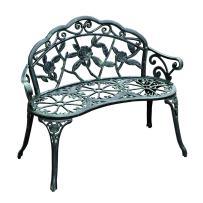 "Outsunny 40"" Cast Aluminum Antique Rose Style Outdoor Patio Garden Park Bench - Antique Green"