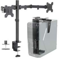 VIVO Dual 13 to 27 inch LCD Monitor Mount and Under Desk and Wall PC Mount Kit, Heavy Duty, Fully Adjustable Stand and Computer Case Holder (Bundle)