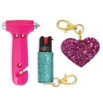 Super-Cute Safety Kit Includes Emergency Automotive Escape Hammer Tool - Seat Belt Cutter and Window Breaker, Personal Security Alarm, Self-Defense Pepper Spray Keychain for Women