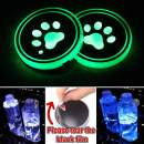 Heart Horse LED Cup Holder Lights, Car Logo Coaster with 7 Colors Changing USB Charging Mat, Luminescent Cup Pad Interior Atmosphere Lamp Decoration Light (2 PCS, Waterproof) (Foot)