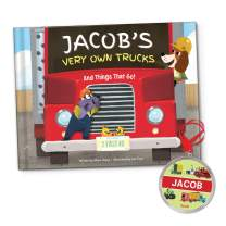 Construction Trucks Diggers Book for Boys, Personalized Name Book for Kids with Ornament