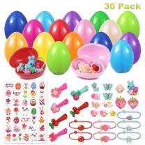 36 Prefilled Easter Eggs, Toys Filled Easter Eggs for Girls Kids with 36 Different Toys (Hair Ties, Hair Clips, Headband, etc) & Sticker, Easter Basket Stuffers Easter Egg Hunt Game Party Favors