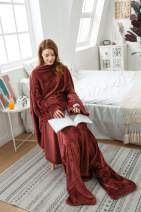Winthome Long Fleece Blanket with Sleeves & Foot Pockets, Wearable Blanket Adult Cozy, Soft, Warm, Functional(Coffee)