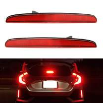 iJDMTOY Red Lens 24-SMD LED Bumper Reflector Lights Compatible With 2017-up Honda Civic Hatchback, SI or Type-R Sedan, Function as Tail, Brake Lamps