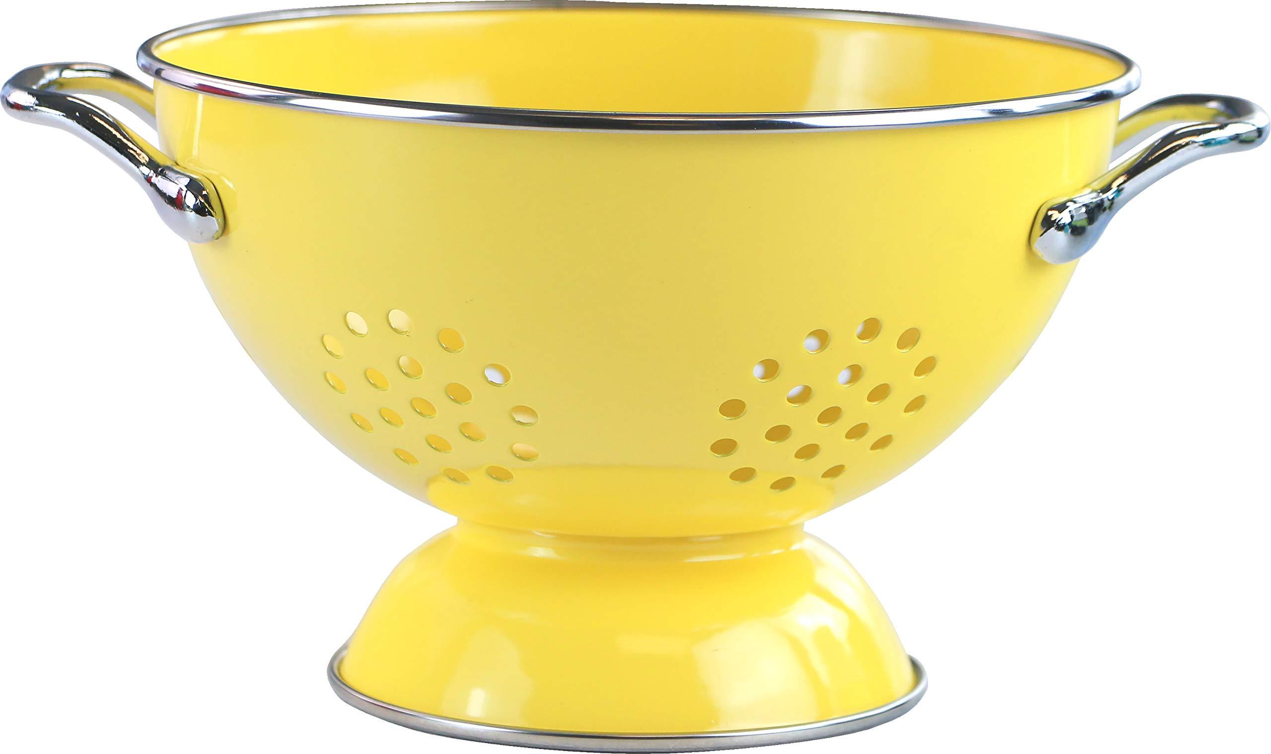 Calypso Basics by Reston Lloyd Powder Coated Enameled Colander, 1.5 Quart, Lemon