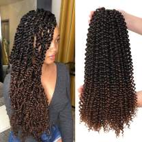 7 Packs Passion Twist Hair 18 inch Ombre Long Bohemian Braids for Water Wave Crochet Braiding Twists Synthetic Hair Extensions (18inch, T30#)