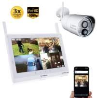 "Sequro 1080P 10"" Touchscreen Wireless Surveillance System 1 Outdoor/Indoor Night Vision IP66 Weatherproof HD Network DVR Home Security IP Cameras Smartphone Access"