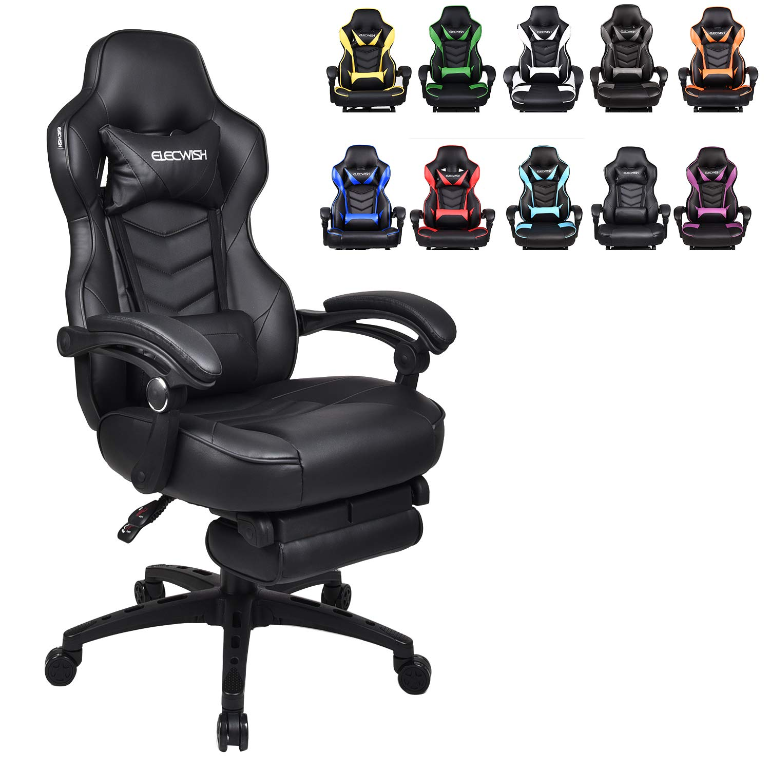 Picture of: Racing Video Gaming Chair High Back Large Size Ergonomic Adjustable Swivel Reclining Executive Computer Gaming Chair With Headrest And Lumbar Support Pu Leather Executive Office Chair Black