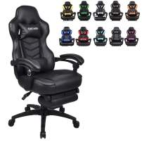 Racing Video Gaming Chair High Back Large Size Ergonomic Adjustable Swivel Reclining Executive Computer Gaming Chair with Headrest and Lumbar Support PU Leather Executive Office Chair Black
