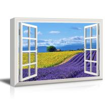 wall26 Window View Canvas Wall Art - Open Field with Yellow Sunflowers and Purple Lavenders - Giclee Print Gallery Wrap Modern Home Art Ready to Hang - 12x18 inches