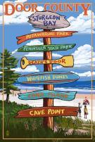 Door County, Wisconsin - Destination Signpost (24x36 Giclee Gallery Print, Wall Decor Travel Poster)