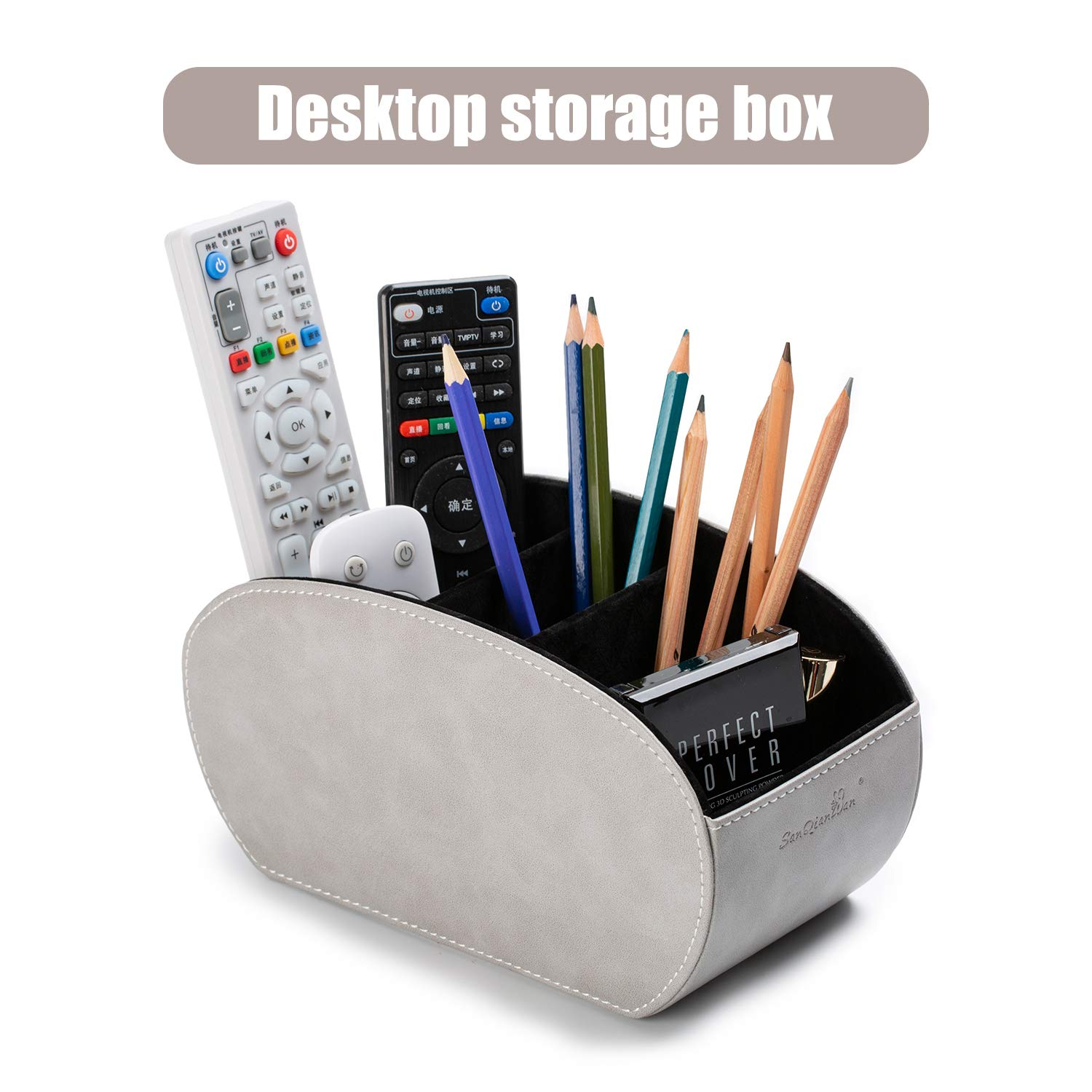 Tv Remote Control Holders Organizer Box with 5 Compartment PU Leather Multi-Functional Office Organization and Storage Caddy Store Tv Remote Holders,Brush,Pencil,Glasses and Media Player (Gray)