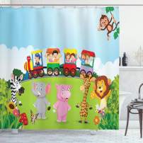 "Ambesonne Cartoon Shower Curtain, Kids Nursery Design Happy Children on a Choo Choo Train with Safari Animals Artwork, Cloth Fabric Bathroom Decor Set with Hooks, 70"" Long, Multicolor"