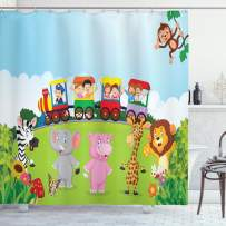"Ambesonne Cartoon Shower Curtain, Kids Nursery Design Happy Children on a Choo Choo Train with Safari Animals Artwork, Cloth Fabric Bathroom Decor Set with Hooks, 75"" Long, Multicolor"