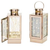 Rose Gold Decorative Lanterns - Warm White Fairy Lights, 9 Inch Tall, Battery Operated, Copper Wire, Home Decor or Flameless Wedding Centerpiece, Timer and Batteries Included - Set of 2