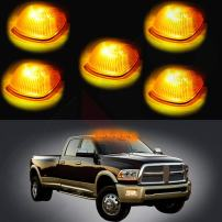 Cab Marker Light 5x Amber Top Clearance Roof Running Lens/Covers with T10-5-5050-SMD White LED Bulbs Replacement Cab Marker Assembly Replacement fit for 1994-1998 Dodge Ram 2500 3500