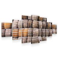 STARTONIGHT Huge Canvas Wall Art Barrels - Large Framed Set of 7 40 x 95 Inches