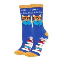 HAPPYPOP Novelty Book Reading Math Crew Socks, Jan Austin Hemingway Gift Socks For Women Girls
